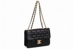 7A Replica Chanel CC Logo Lambskin Leather Flap Bags 002 Black