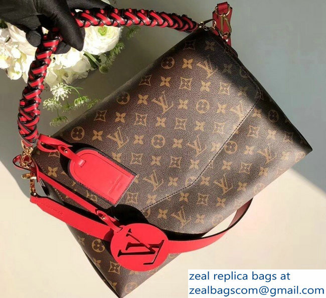Louis Vuitton Monogram Canvas Braided Handle Beaubourg MM Bag M43953 Red 2018