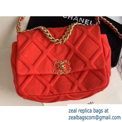 Chanel 19 Small Jersey Flap Bag AS1160 Red 2020